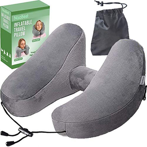 NaoBest Luxury Inflatable Travel Pillow Airplanes - Air Pillow w/Adjustable Neck Size - Supports Chin, Head - Soft Washable Cover - Cell Phone Pocket - Grey - Launch Offer