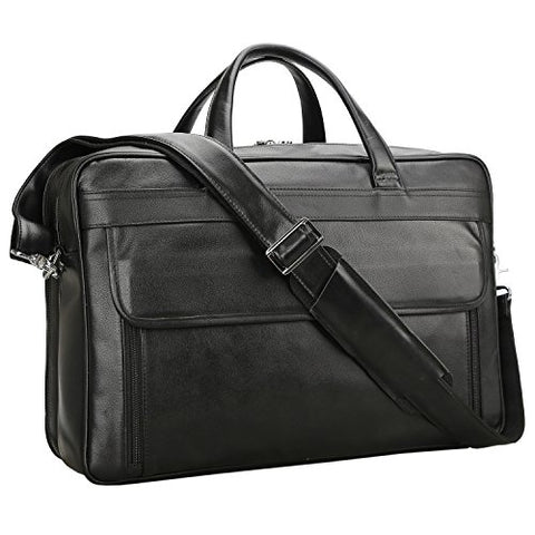 Polare Men'S Real Leather 17'' Briefcase Shoulder Messenger Business Bag