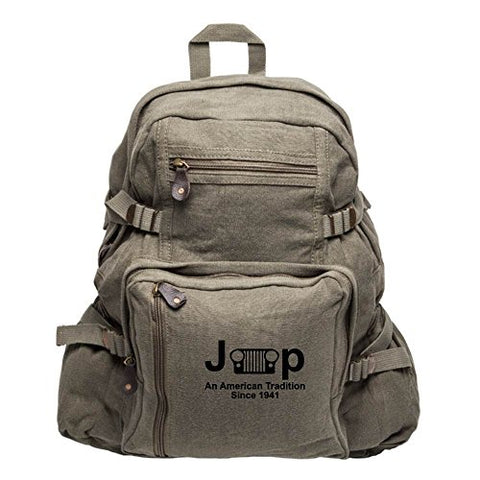 Jeep An American Tradition Since 1941 Army Sport Heavyweight Canvas Backpack Bag in Olive &