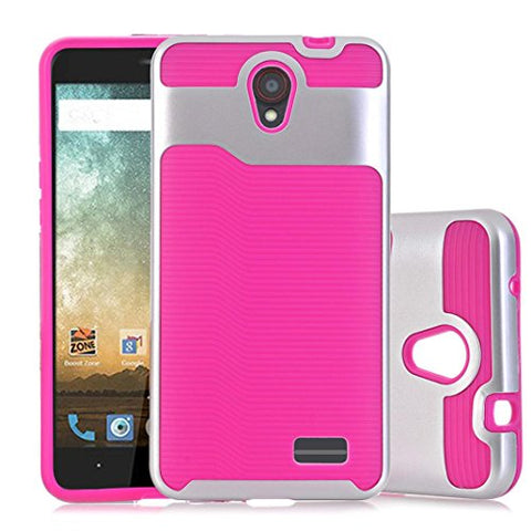 AutumnFall 2-Piece Hard Soft Rubber Impact Armor Case Back Hybrid Cover for ZTE Avid Plus Z828