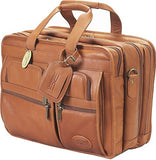 Claire Chase Executive Leather Laptop Briefcase X-wide, Computer Bag in Saddle
