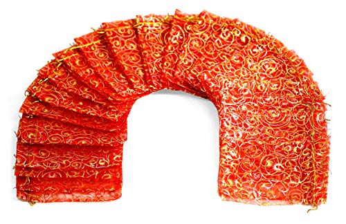 "ZUUC Eyelash Gold Organza Drawstring Pouch Bag Pack of 100 (Red, 5X7"")"