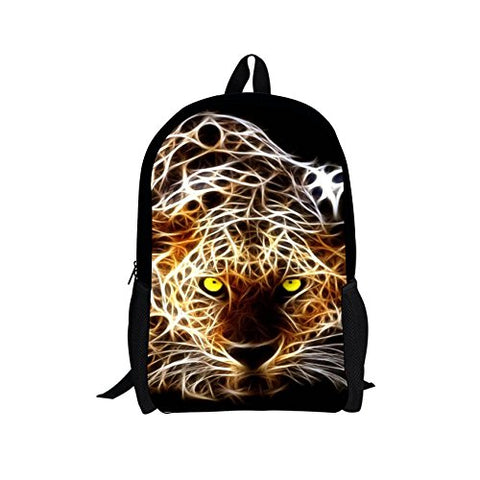 Thikin Forest King Dinosaur Tiger Wolf Print Teens Travel Backpack
