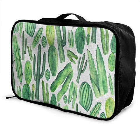 Travel Bags Tropical Cactus Tree Plant Grass Portable Handbag Trendy Trolley Handle Luggage Bag