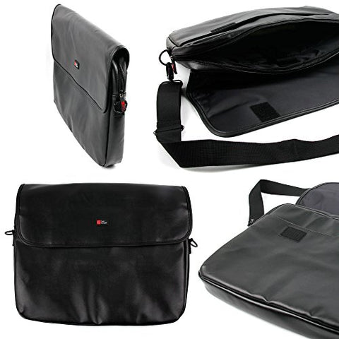 "DURAGADGET Premium Black PU Leather 15.6"" Laptop Zip-up Carry Bag for The New Dell Latitude 15 5000"