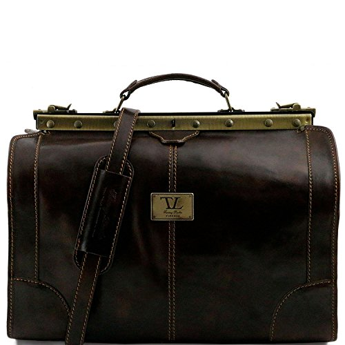 Tuscany Leather - Madrid - Gladstone Leather Bag - Small size Dark Brown - TL1023/5