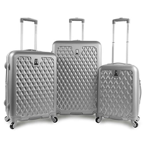 Pacific Coast Signature Pandora Hardside Rolling Travel Lug 3 Piece, Silver