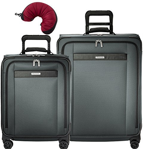 Briggs & Riley Transcend VX 3 Piece Spinner Set | Wide Carry-On Expandable Spinner | Medium Expandable Spinner | Travel Pillow (Slate)