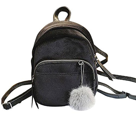 Clearance Sale! Zomusa Women Girls Fashion Mini Backpack Shoulder Bag Solid School Bags With Fur