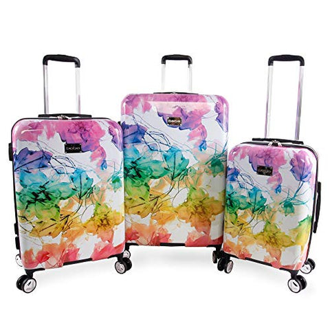BEBE Women's Megan 3pc Suitcase Set with Spinner Wheels, Rainbow
