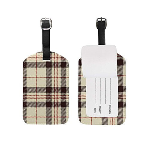Luggage Tags Vintage Geometric Striped Plaid Tartan Checkered Gingham Travel Baggage Tags