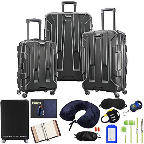Samsonite 102691-1041 Centric 3pc Hardside 20/24/28 Luggage Set with Accessory Bundle