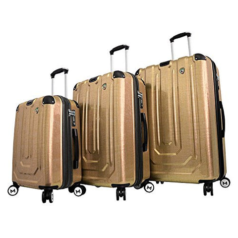 Mia Toro Italy Macchiolina Polish Hardside Spinner Luggage 3pc Set, Gold