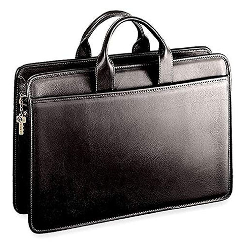Jack Georges Platinum Collection Single Gusset Top Zip Portfolio, Black