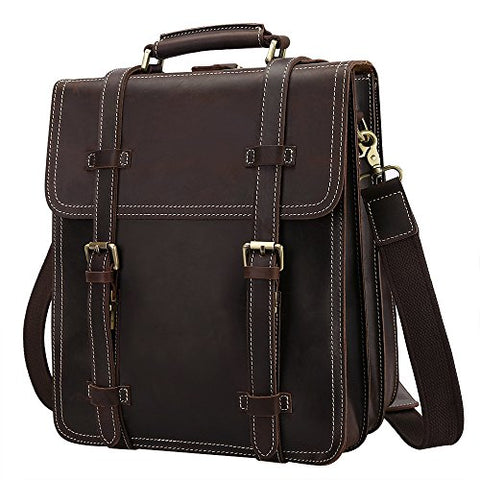 S-Zone Men'S Vintage Crazy Horse Genuine Leather Backpack Messenger Shoulder Bag