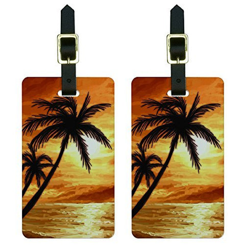 Graphics & More Palm Trees and Sunset Orange-Beach Tropical Ocean Luggage Tags Id, White