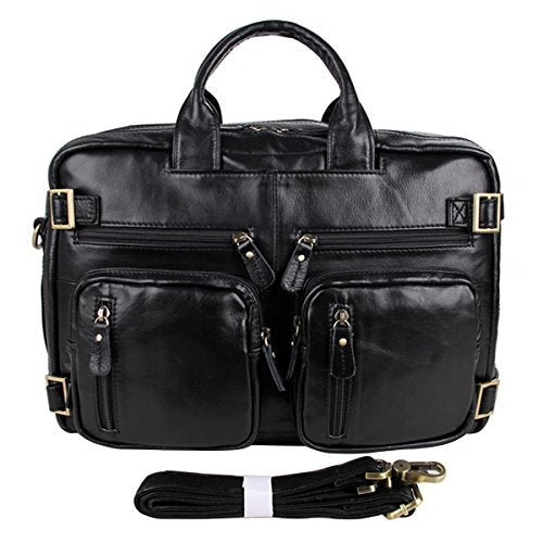 ABage Men's Leather Brief Genuine Leather Business Messenger Convertible Brief Black