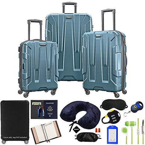 Samsonite 102691-2824 Centric 3pc Nested Hardside 20/24/28 Luggage Set - Teal Bundle w/Luggage Accessory Kit (10 Item)