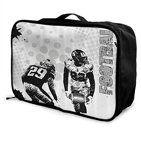 HFXFM American Football Travel Pouch Carry-on Duffel Bag Waterproof Portable Luggage Bag Attach