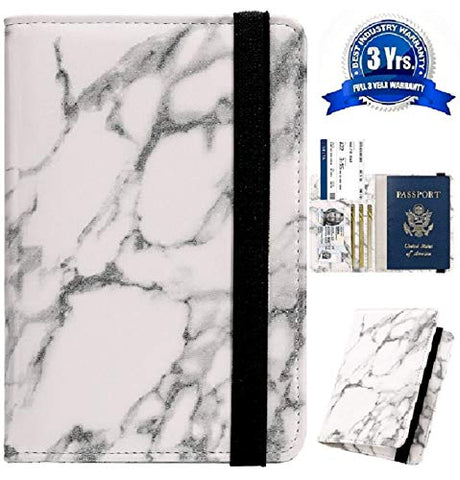 Passport Holder Cover Wallet Case - DESERTI BRANDS Leather RFID Blocking For Women Men - white