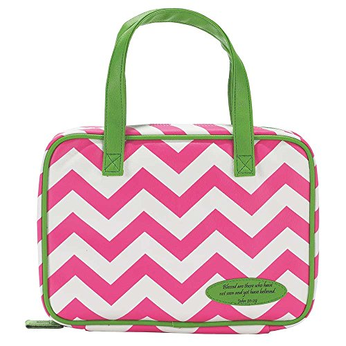 Pink And Green Chevron 7.8 X 10.3 Leather Like Vinyl Thinline Bible Cover Case