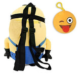 Despicable Me Minion Plush Backpack & Emoji Backpack Clip Multi-pack (Stuart)