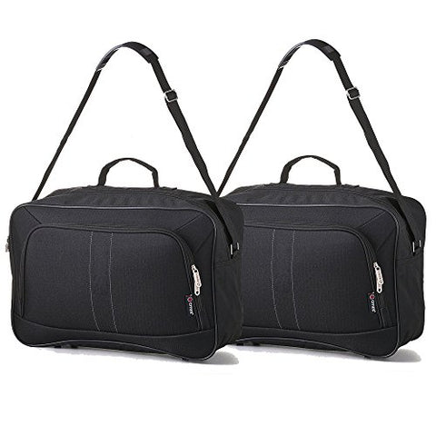 16 Inch Carry On Hand Luggage Flight Duffle Bag, 2Nd Bag Or Underseat, 19L (2 X Black)