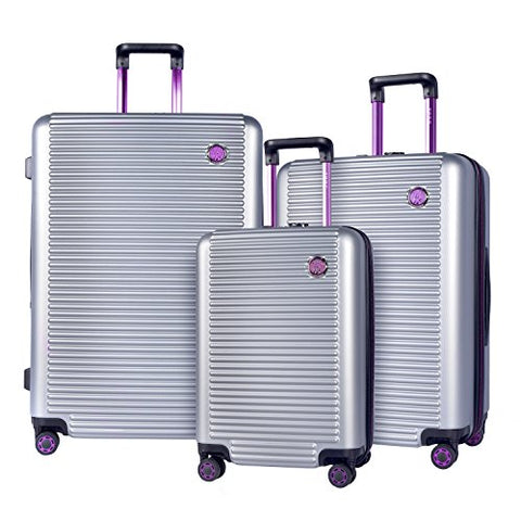 TPRC 3 Piece Multi-Tone Eye-Catching Design Hardside Luggage Set with TSA Lock, Silver with Purple Color Option
