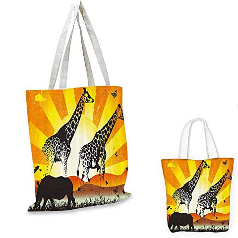 African canvas messenger bag Wildlife Animal with Giraffe on Nature Walk and Mammal Retro Graphic