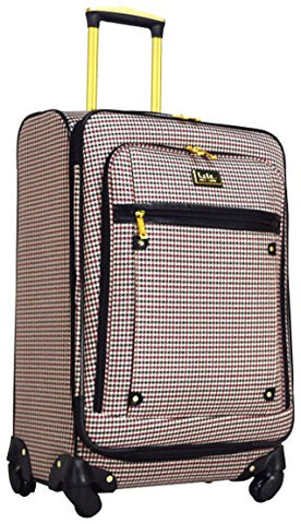 "Nicole Miller Taylor 28"" Expandable Spinner Suitcase (Black/Burgundy Plaid)"