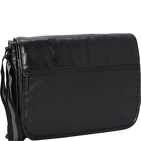 Ben Sherman Keats Grove Leather Single Compartment Flapover Messenger Bag Black