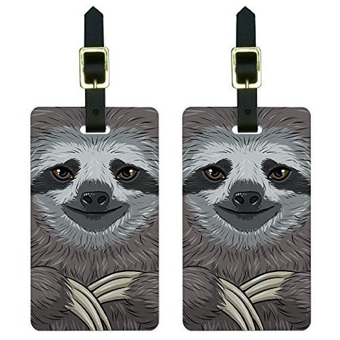 Graphics & More Sloth Face Luggage Tags Suitcase Carry-on Id, White