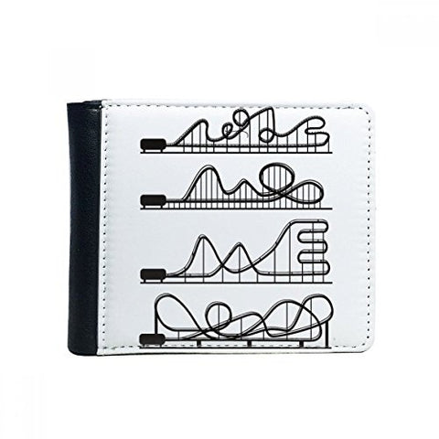 Amusement Park Black Roller Coaster Silhouette Flip Bifold Faux Leather Wallet Multi-Function