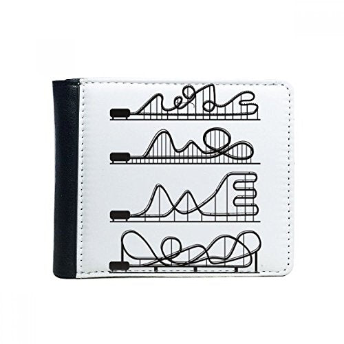 Amusement Park Black Roller Coaster Silhouette Flip Bifold Faux Leather Wallet Multi-Function Card Purse Gift