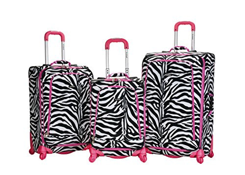 Rockland Luggage Fusion 3 Piece Luggage Set, Pink Zebra, Medium