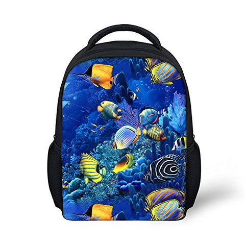 Youngerbaby 12Inch Tropical Fish Backpack School Bag For Kindergarten Kids