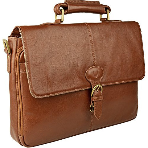 Hidesign Parker Leather Medium Briefcase, One Size, Tan