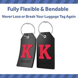 Initial Luggage Tag with Full Privacy Cover and Stainless Steel Loop (Black) (K)