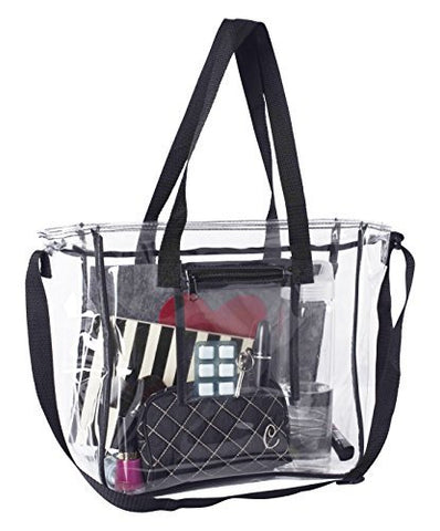 Deluxe Clear Bag | Extra Large Lunch Box with Adjustable Straps & Handles | Tote Container for