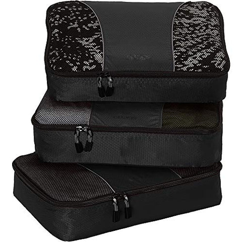 eBags Medium Packing Cubes for Travel - 3pc Set - (Black)