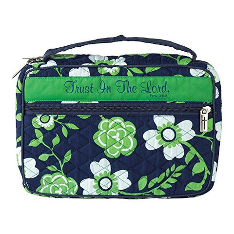 Trust in The Lord Green Floral Quilted Cotton Thinline Bible Cover Case