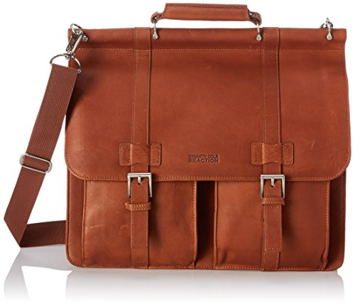"Kenneth Cole Reaction ""Mind Your Own Business"" Colombian Leather Double Compartment Dowel Rod Portfolio/Computer Case/ Fits Most 15.4"" Laptops, Brown, One Size"