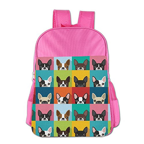 Gibberkids Child's Boston Terriers Bulldog Cartoon School Bags Bookbag Boys/Girls For 4-15 Years