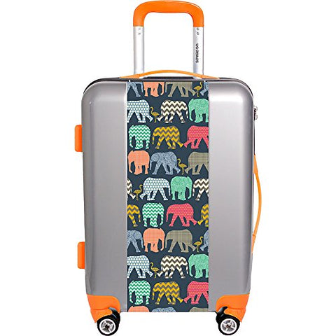 "Ugo Bags Baby Elephants And Flamingos By Sharon Tuner 22"" Luggage (Silver)"