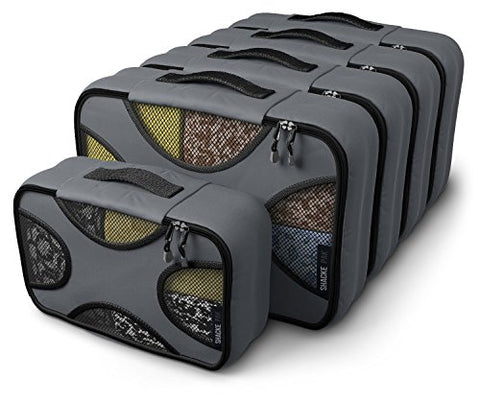 Shacke Pak - 5 Set Packing Cubes - Medium/Small – Luggage Packing Travel Organizers (Dark Grey)