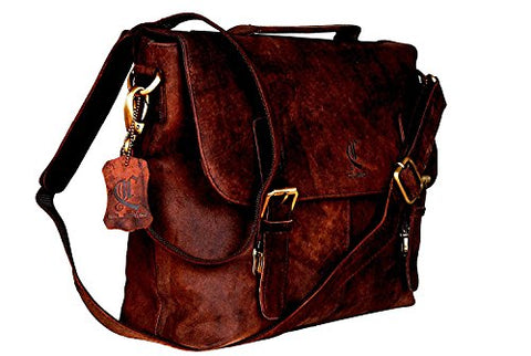 Retro Buffalo Hunter Leather Laptop Messenger Bag Office Briefcase College Bag