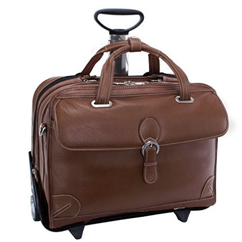 "Siamod Carugetto Wheeled 17"" Laptop Bag - Cognac"