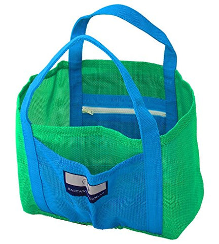 Child Small Mesh Beach Bag – 2 Zippers, Hand Carry, Green And Blue