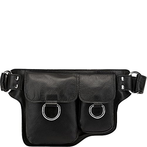 Vicenzo Leather Alvere Leather Waist Pack (Black)