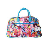 "World Traveler Women'S Tattoo 21"" Bag-Blue Trim Butterfly Rolling Duffel, Blue Butterfly, One Size"